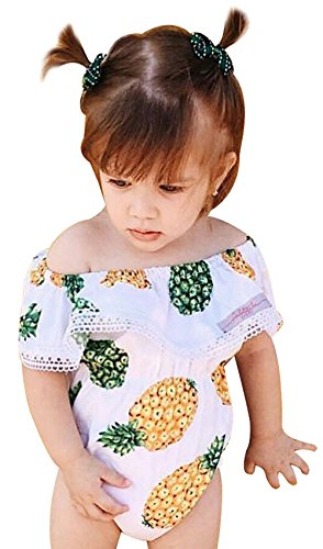 Summer Baby Girls Off Shoulder Romper with Lace Side Toddler Kids Pineapple Printed Cute Bodysuit (White, 90/12-18M) ()