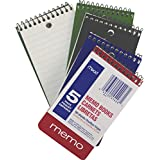 Mead Wire Bound Memo Books, 3 x 5 Inches, College Ruled, 60 Sheets Each, Pack of 5, Assorted Color Covers (45428)