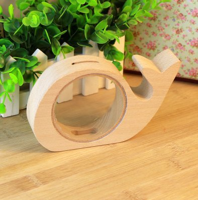 gn Whale Shape Animal Wooden Acrylic Money Box Piggy Bank Coin Bank Toys For Children Cute Gift Home Decor ()