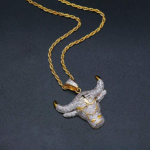 Full Rhinestone Cow Head Pendant Necklace Ice Out Stainless Steel Gold Necklace Men'S Sweater Chain Jewelry