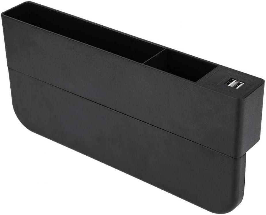 KIMISS Universal ABS Plastique Multifonctionnel Si/ège De Voiture Gap Bo/îte De Stockage Gap Fente De Poche USB Sans Fil Chargeur De T/él/éphone Titulaire pour Conducteur et Co-pilote Marron