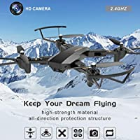 Nesee Christmas Gift 2.4G 4-Channel 6Axis Altitude Hold HD Camera RC Quadcopter Drone Selfie Foldable (Black)