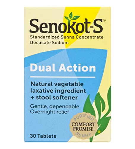 Senokot-S  Dual Action 30 Tablets, Natural Vegetable Laxative Ingredient Plus Stool Softener Tablets, Gentle Dependable Overnight Relief of Occasional constipation (Best Otc Stimulant Laxative)
