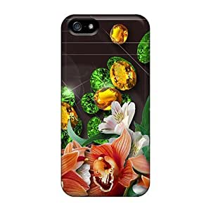 Protective Cases With Fashion Design For Iphone 5/5S Phone Case Cover (emeralds Topaz Blooms)