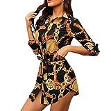 Lloopyting Women's Long Sleeve One Piece Button Strappy Wrap Maxi Dress Print Slim Fit Stretch Bodycon Dress Mini Dress