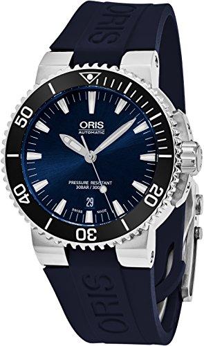 Oris Aquis 42 MM Mens Blue Face Date Swiss Automatic Blue Rubber Strap Watch 73376534135RS1