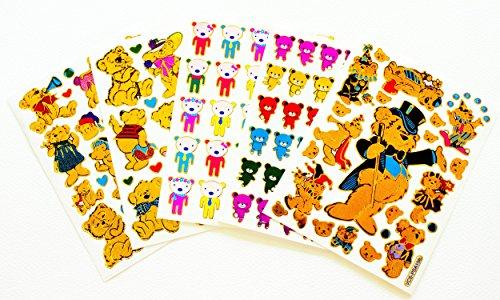 Fancy! Mix Pretty Teddy Bear No.4 Colorful Sparkle Sticker-5 Sheet (Sparkle Bear)