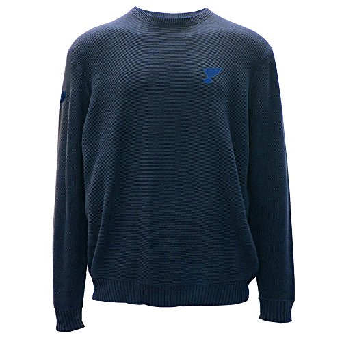 Levelwear LEY9R NHL St. Louis Blues Adult Men Muskoka Crew Optic Crest Crewneck Sweater, X-Large, Indigo