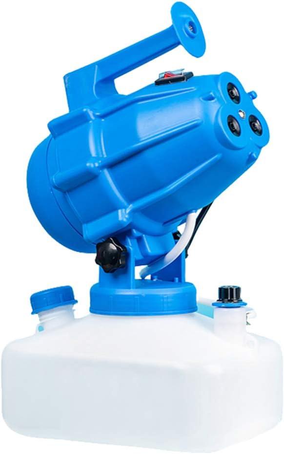 TTLIFE Máquina de niebla eléctrica ULV de 5 litros, máquina de niebla fría, desinfectante, pulverizador industrial de esterilización, pulverizador de niebla para interior/exterior (azul)