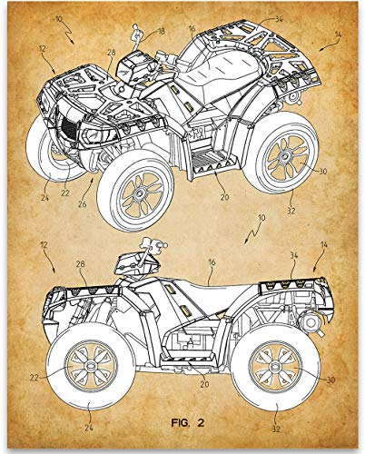 Polaris Four Wheeler ATV Patent - 11x14 Unframed Patent - Makes a Great Gift for ATV Owners Under $15