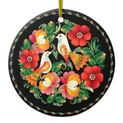 Pattebom Opus Hungarian Flower and Bird Ceramic Christmas Ornaments Novelty for 2018 Christmas Tree Decorations Idea