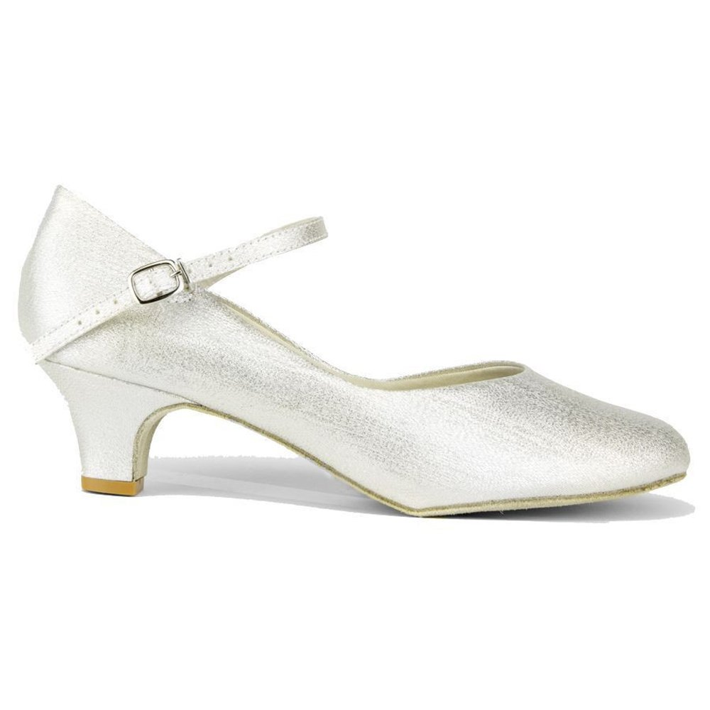 "Ladies Large Size 1 ½"" heel, closed toe ballroom shoe (12, Silver)"