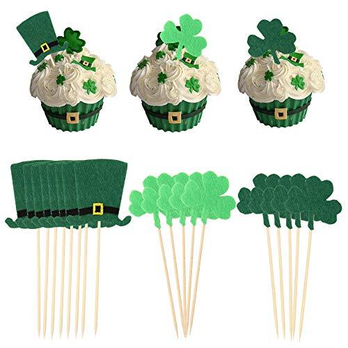 Patricks Day Picks - 21pcs/Set St Patrick's Day Shamrock Clover Cake Topper,Green Top Hat Cupcake Picks Toppers for St Patrick's Day Party Decorations