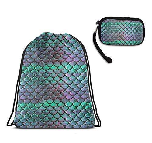 (Gym School Drawstring Sack Gymsack Sackpack - Green Mermaid Scale Style Drawstring Rucksack, Large Lightweight Waterproof Daypack + Ladies Purse Coin Cash)