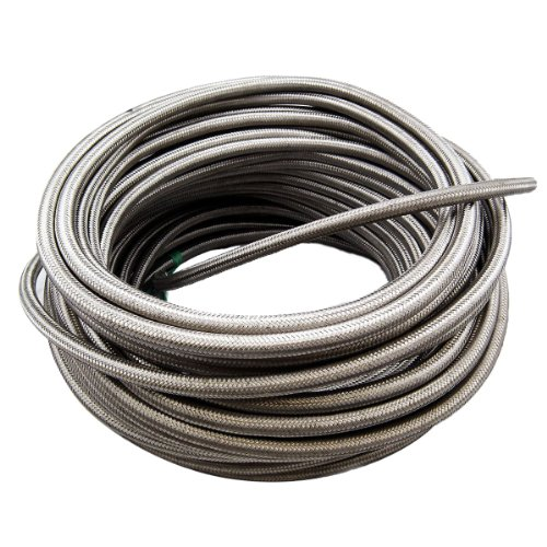 theBlueStone 10FT -6AN Stainless Steel Braided Fuel Line Hose for 3/8 Tube (Stainless Steel Braided Oil)