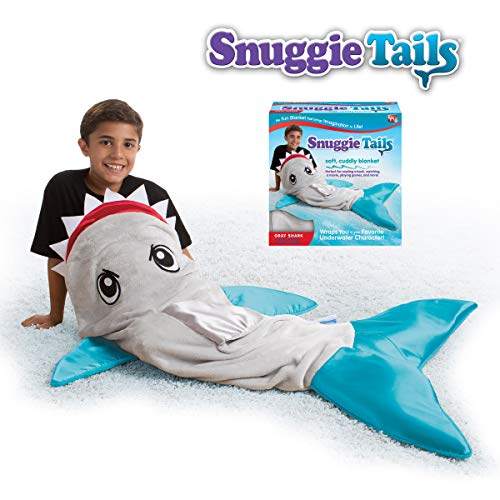 Snuggie Tails Comfy Cozy Super Soft Warm Shark Blanket for Kids (Gray), As Seen on TV -