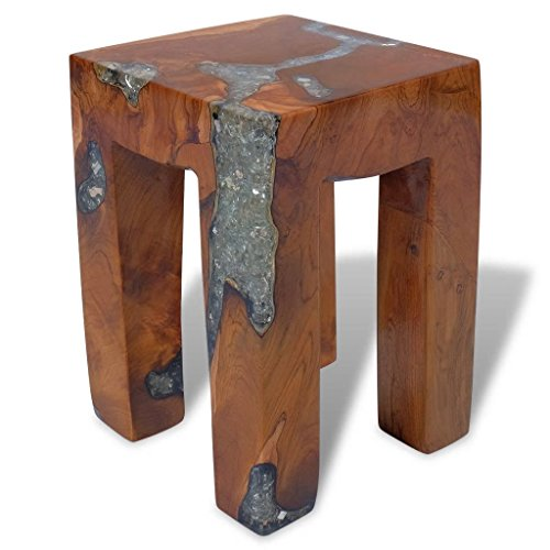 (Festnight Wood Stool with 4 Legs Wooden Teak Resin End Side Tbale Nightstand Living Room Bedroom Home Furniture Decor Suit for Both Indoor and)