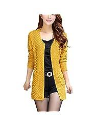 SODIAL(R)Women Sweater Long Cardigan Fashion Long Sleeve Thin Knitted Cardigan Female Sweaters Yellow L