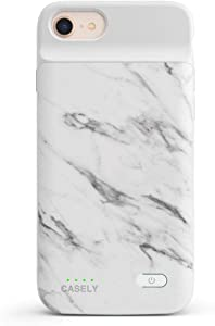 Casely Power 2.0 iPhone Case - Classic White Marble Rubber Case - iPhone 6/7/8/SE (2020) Phone Casing - Full-Body Protection Case - Heavy-Duty Shockproof Anti-Scratch Flexible Bumper