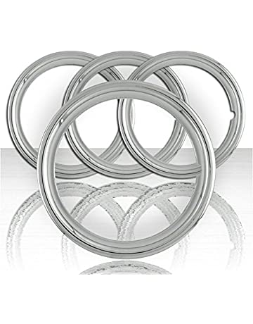 amazon trim rings hubcaps trim rings hub accessories 1948 Ford Hubcap upgrade your auto set of four 16 polished stainless steel 1 1 2