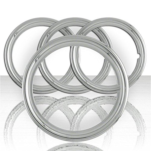 Upgrade Your Auto Set of Four 16' Polished Stainless Steel 1 1/2' Deep Wheel Trim Rings