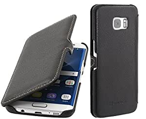 StilGut Genuine Leather Case, Cover for Samsung Galaxy S7 edge, Book Type with Clip, Black