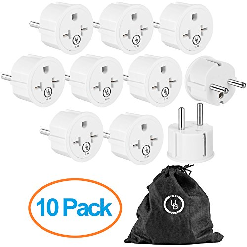 Yubi Power European German Schuko Power Plug Adapter 10 Pack