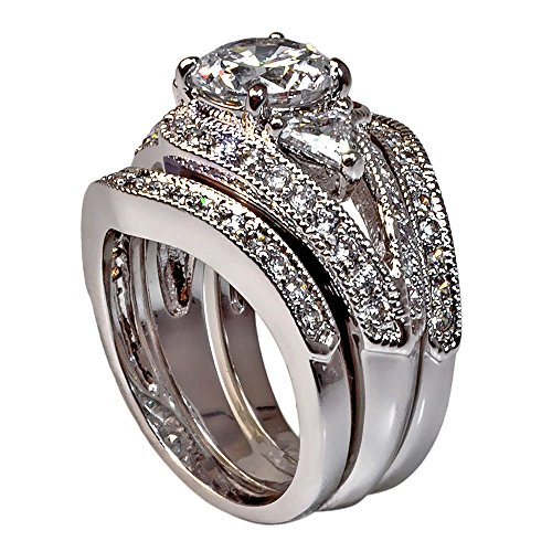 Vintage-style Round-shape and Triangle-shape with Milgrain Edging 3.28 Ct Cubic Zirconia Cz 3 Pc. Bridal Engagement Wedding Ring Set (Center Stone Is 2 Cts) (9) 3 Stone Triangle Ring