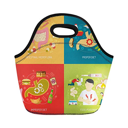 Semtomn Lunch Bags Food Digestion Intestinal Microflora and Proper Diet Symbols Flat Neoprene Lunch Bag Lunchbox Tote Bag Portable Picnic Bag Cooler Bag