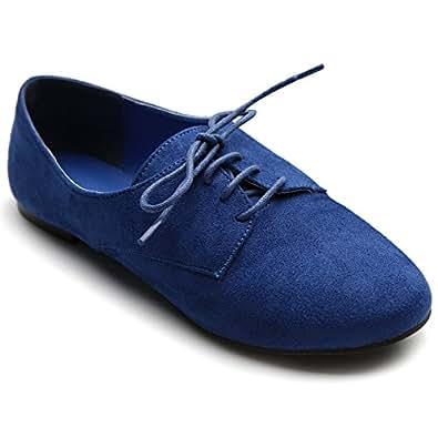 Ollio Women's Ballet?Flat Shoe Faux Suede Lace Up Oxford(5.5 B(M) US, Blue)