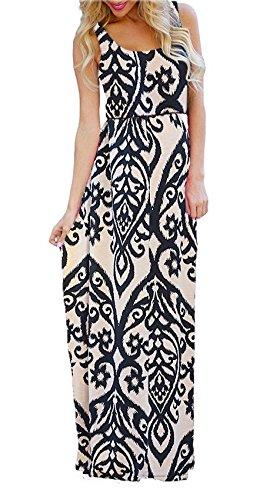 (Women's Sleeveless Floral Tribal Flowy Shift Beach Maxi Long Sun Dress Khaki L)
