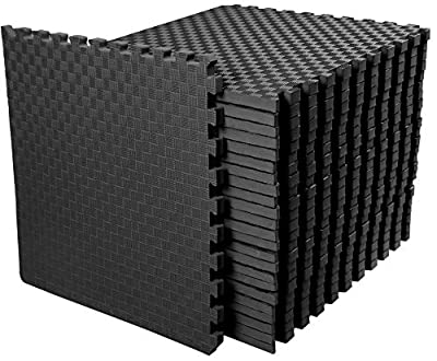 """BalanceFrom 1"""" Extra Thick Puzzle Exercise Mat with EVA Foam Interlocking Tiles for MMA, Exercise, Gymnastics and Home Gym Protective Flooring, 72 Square Feet"""