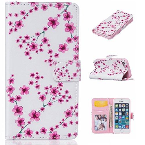 ZXLZKQ Coque pour iPhone 5 5S SE Étui PU Cuir Portefeuille Flip Poches Cover Case magnétique Housse Romantique Prune Fleur Rouge Coque pour Apple iPhone 5 5S SE
