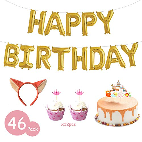 Fox Cake Decorations with Cake Toppers, Headband, Cupcake Wrappers and Happy Birthday balloons, Joyhill Fox Party Supplies for Baby Kids Girls Birthday Favors