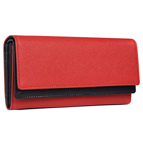 Italian Leather Clutch Wallet (Alavor Women RFID Blocking Trifold Wallet Saffiano Leather Dual Clutch Luxury Large Capacity Purse (Red/Black))