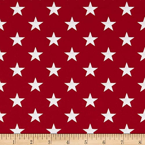 Santee Print Works Patriotic 108'' Quilt Backs Stars Fabric, Red/Antique/White, Fabric By The - Quilt Fabric Patriotic