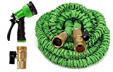 Expandable Garden Hose 100 Feet Strongest Expandable Hose With All Brass Connectors,8 Pattern Spray Nozzle And High Pressure - Resistance Latex.