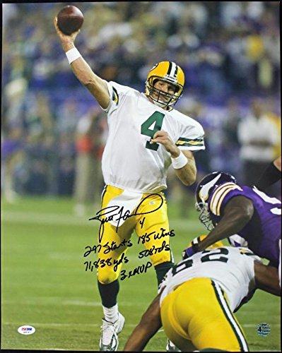 Autographed Brett Favre Photograph - Career Stats 16X20 - PSA/DNA Certified - Autographed NFL Photos Brett Favre 16x20 Autographed Photograph