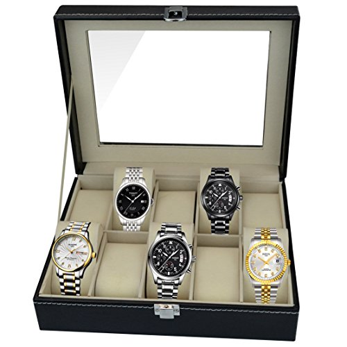 Aketek Watch Box 10 Mens Black Leather Display Glass Top Jewelry Case Organizer by Aketek (Image #1)