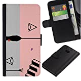 UPPERHAND ( Not For HTC ONE Mini 2) Stylish Image Picture Black Leather Bags Cover Flip Wallet Credit Card Slots TPU Holder Case For HTC One M8 - pink abstract grey stairs grey black