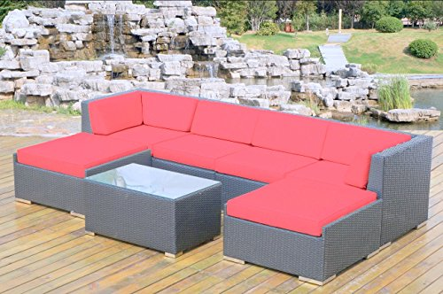 Weather Wicker Armless Sectional - Ohana 7-Piece Outdoor Patio Wicker Furniture Sectional Conversation Set with Weather Resistant Cushions, Red (PN7036R)