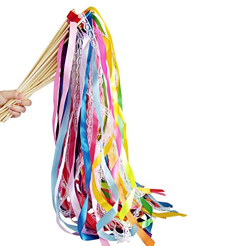 Hangnuo 30 Pack Wedding Streamers Lace Ribbon Wands with Bells, Fairy Stick Wand Party Favors for Baby Shower Holiday Celebration,Mix Color ()