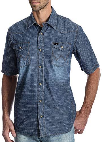 (Wrangler Mens Western Swiss Dot Denim Snap Front Shirt X-Large Indigo Blue)