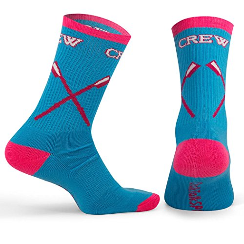 ChalkTalkSPORTS Athletic Half Cushioned Crew Socks | Rowing Loving the Crew Design | Pink/Blue (One size fits most, Men's shoe size 5-11 and Women's 6-12.)