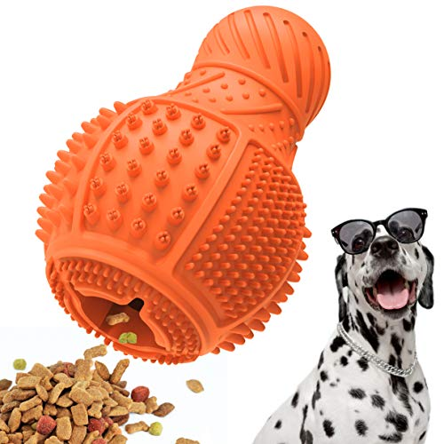 Dog Chew Toys , Durable Natural Rubber Interactive Dog Puppy Chew Toys for Bored , Dog Puzzle Toys with Teeth Cleaning and Food Dispensing