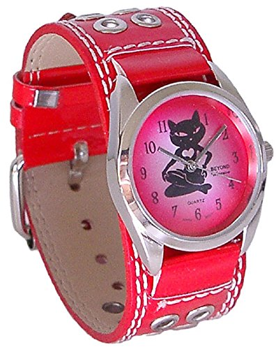 Studded Cuff Watch (Beyond Women's Sexy Kitty Cat Heart Watch - Red Studded Leather Cuff Band)