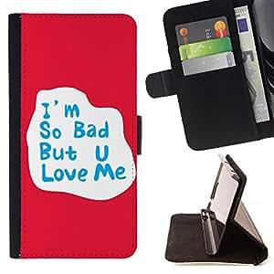 Skull Market - FOR HTC One M7 - I am so bad - Caja de la carpeta del tirš®n del cuero de la PU [con ranuras para tarjetas y cierre de solapa magnšŠtica] Pš¢rese cubierta de la caja
