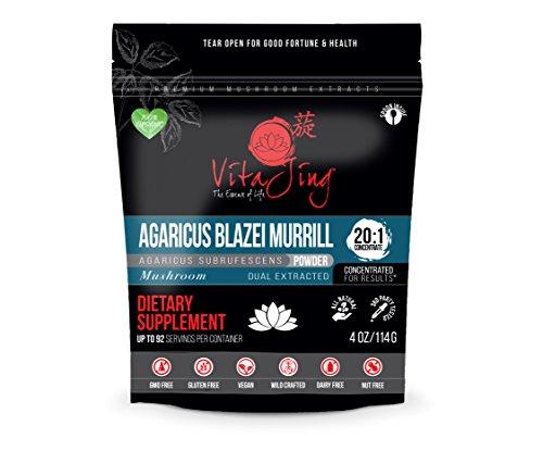 VitaJing Agaricus Blazei Murill Mushroom Extract Powder - Organic - (2oz/57gr) - 20:1 Concentration