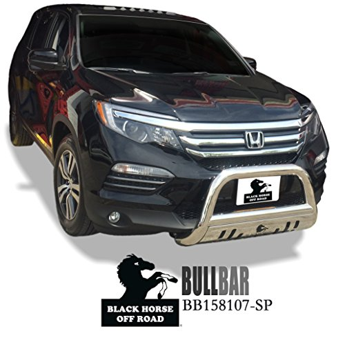BLACK HORSE Bull Bar Compatible with 2014 to 2019 Acura Honda MDX Odyssey Passport Pilot Ridgeline Chrome Stainless Steel Push Protect Grille Guard Front Bumper BB158107-SP