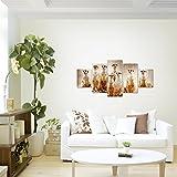 Bilder-Afrika-Erdmnnchen-Wandbild-Vlies-Leinwand-Bild-XXL-Format-Wandbilder-Wohnzimmer-Wohnung-Deko-Kunstdrucke-Braun-5-Teilig-MADE-IN-GERMANY-Fertig-zum-Aufhngen-005552a